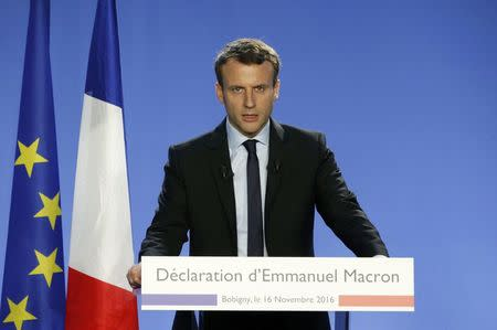"Emmanuel Macron, former French economy minister and head of the political movement ""En Marche"" or ""Forward"", delivers a speech to announce his candidacy for the 2017 French presidential election in Bobigny"