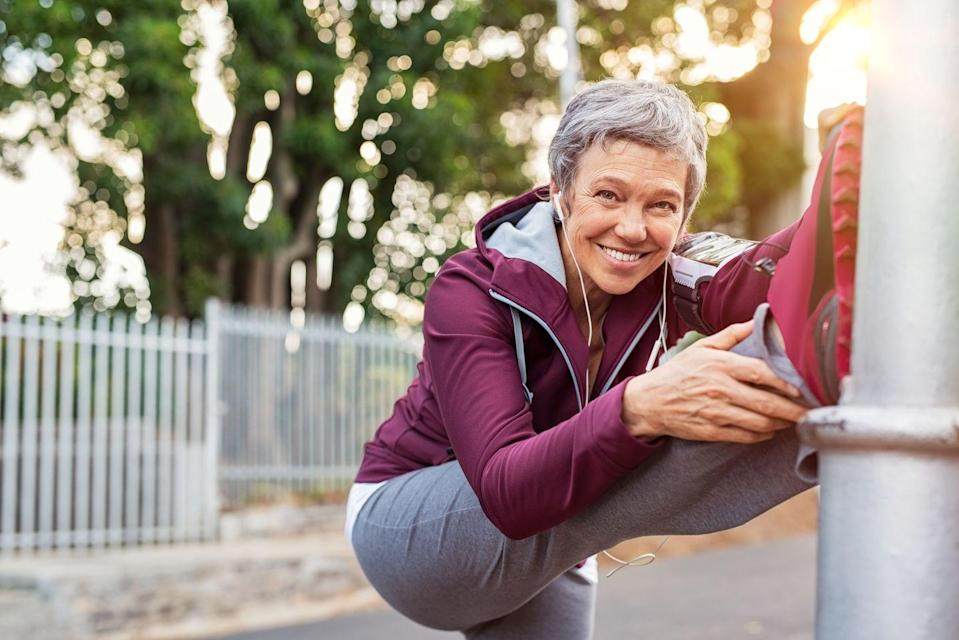 "<p>Just a few minutes of dynamic stretching—which involves mimicking movements of a sport or activity—can increase blood flow, giving your brain a boost and helping you shake off a mid afternoon slump, says Rachel Tavel, P.T., D.P.T., C.S.C.S., author of <a href=""https://shop.prevention.com/ultimate-stretching-offer.html"" rel=""nofollow noopener"" target=""_blank"" data-ylk=""slk:Prevention's Stretch Yourself Healthy"" class=""link rapid-noclick-resp""><em>Prevention</em>'s <em>Stretch Yourself Healthy</em></a>.</p>"