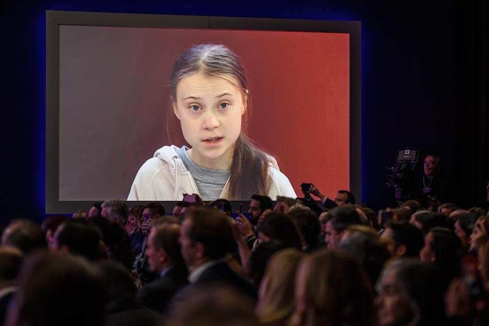 TOPSHOT - Swedish climate activist Greta Thunberg attends a session at the Congres center during the World Economic Forum (WEF) annual meeting in Davos, on January 21, 2020. (Photo by Fabrice COFFRINI / AFP) (Photo by FABRICE COFFRINI/AFP via Getty Images)