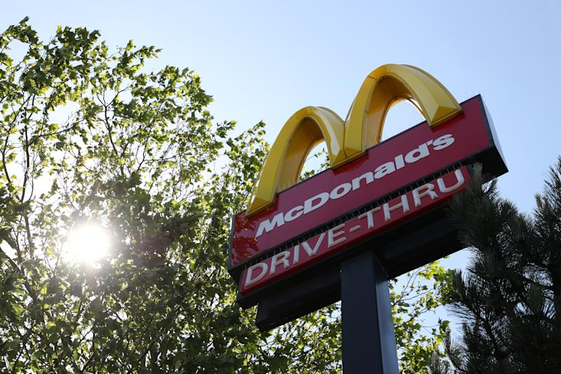 SOUTHAMPTON, ENGLAND - MAY 30: A sign is seen for McDonald's in Southampton which also has a Drive Thru on May 30, 2020 in Southampton, England. The British government continues to ease the coronavirus lockdown by announcing schools will open to reception year pupils plus years one and six from June 1st. Open-air markets and car showrooms can also open from the same date. (Photo by Naomi Baker/Getty Images)