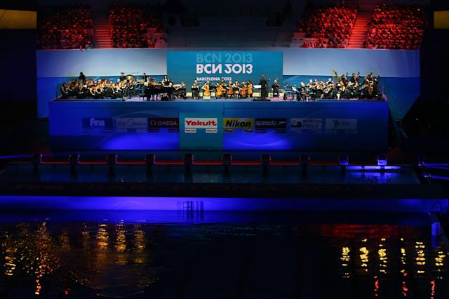 BARCELONA, SPAIN - JULY 19: A general view as the orchestra performs during the Opening Ceremony of the 15th FINA World Championships at Palau Sant Jordi on July 19, 2013 in Barcelona, Spain. (Photo by Al Bello/Getty Images)