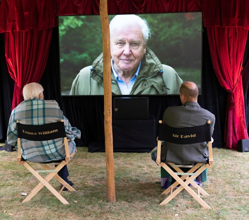 """Prince William and Sir David Attenborough watch a private outdoor screening of """"David Attenborough: A Life On Our Planet"""" at Kensington Palace."""