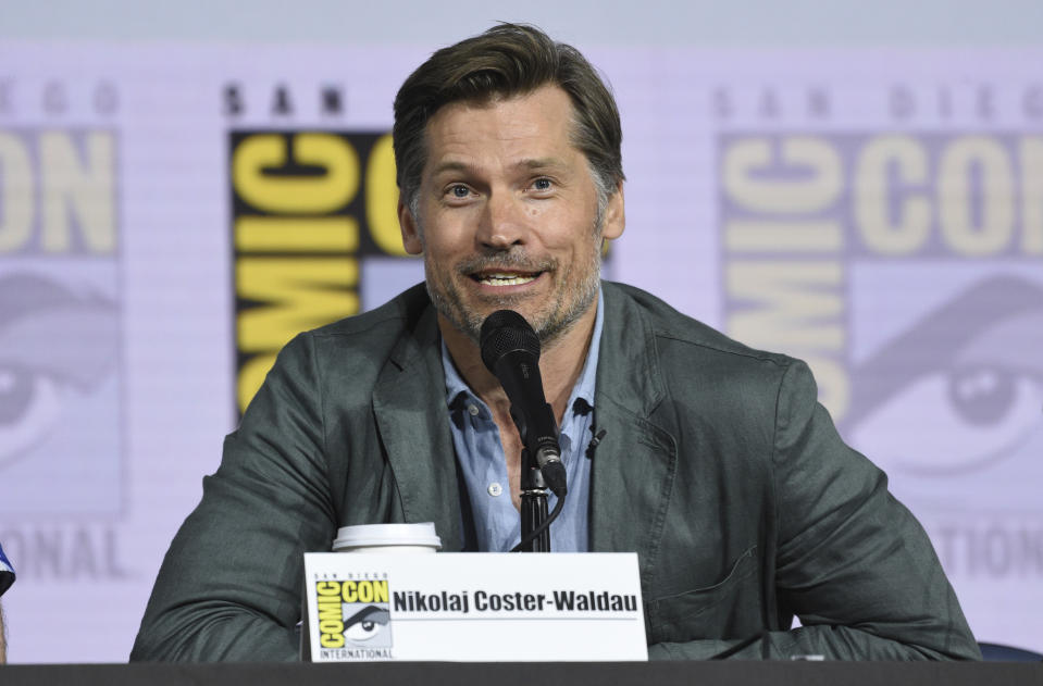 """Nikolaj Coster-Waldau participates at the """"Game of Thrones"""" panel on day two of Comic-Con International on Friday, July 19, 2019, in San Diego. (Photo by Chris Pizzello/Invision/AP)"""