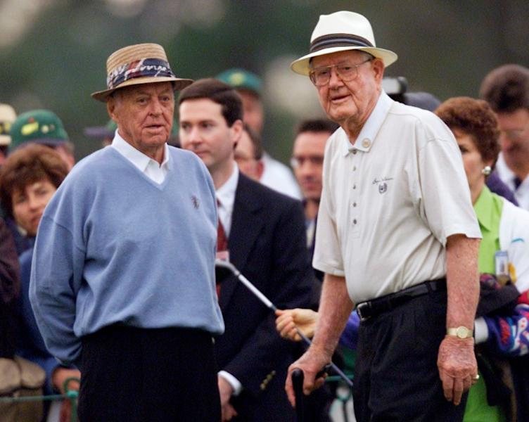 FILE PHOTO: Golf legends Byron Nelson (R) and Sam Snead are introduced to the crowd