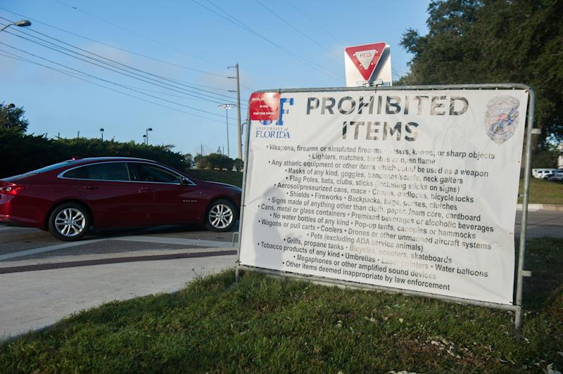 A list of prohibited items near the site set aside for those protesting Richard Spencer at the University of Florida in Gainesville. (Chris McGonigal/HuffPost)