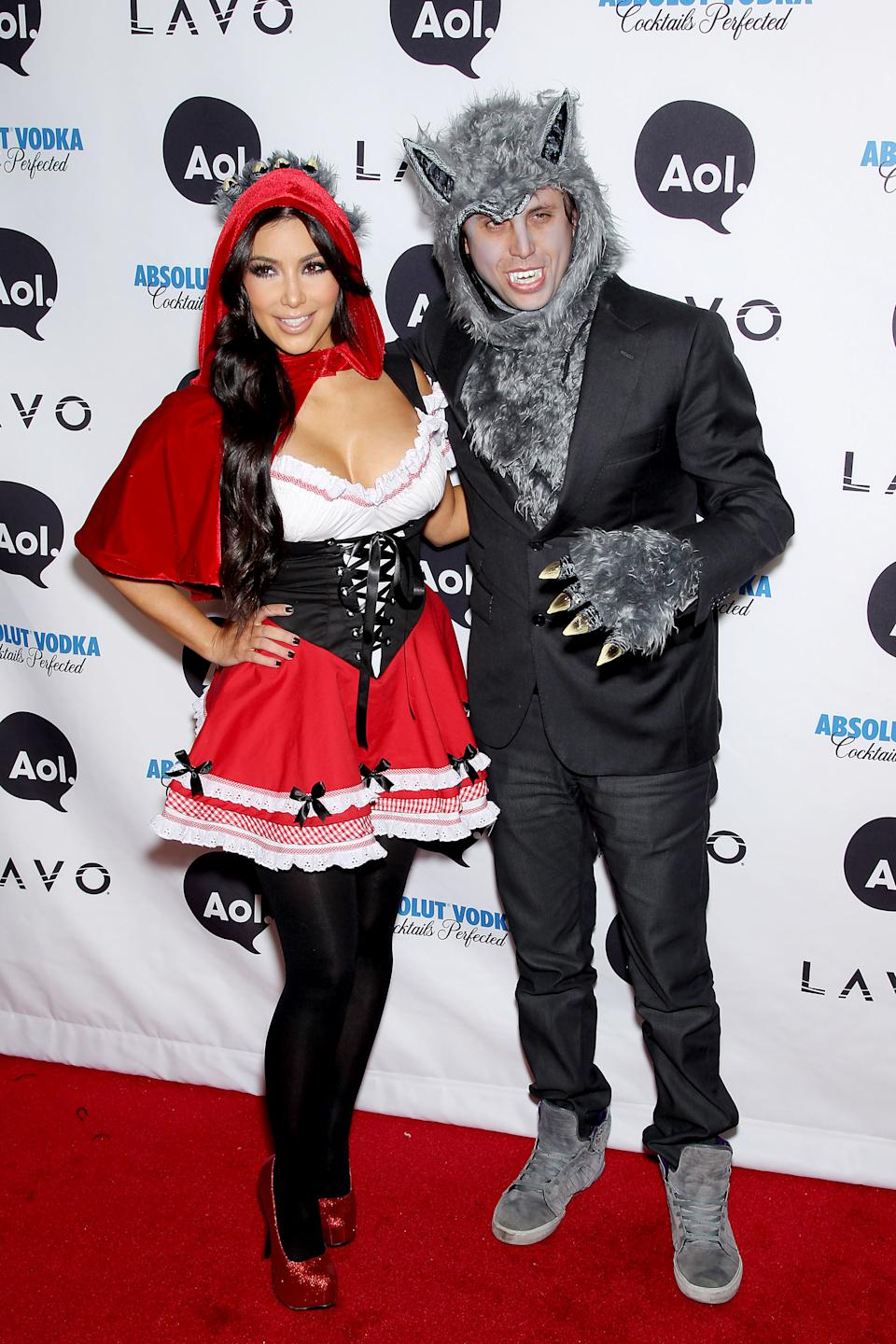 """<strong>Kim Kardashian as Little Red Riding Hood</strong><br><br>Here's a throwback for you. 2010-era Kim Kardashian dressed up as Little Red Riding Hood for Heidi Klum's Halloween party. Her friend, Jonathan Cheban, was the wolf.<span class=""""copyright"""">Marion Curtis/StarPix/REX/Shutterstock</span>"""