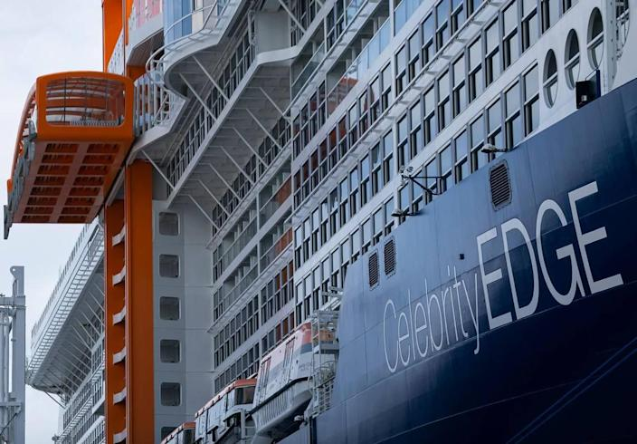 Royal Caribbean's Celebrity Edge is seen docked at Port Everglades in Fort Lauderdale, Florida, on Saturday, June 26, 2021. After departing Port Everglades Saturday, Celebrity Edge will be the first cruise ship sailing with guests from a U.S. port in over 15 months.