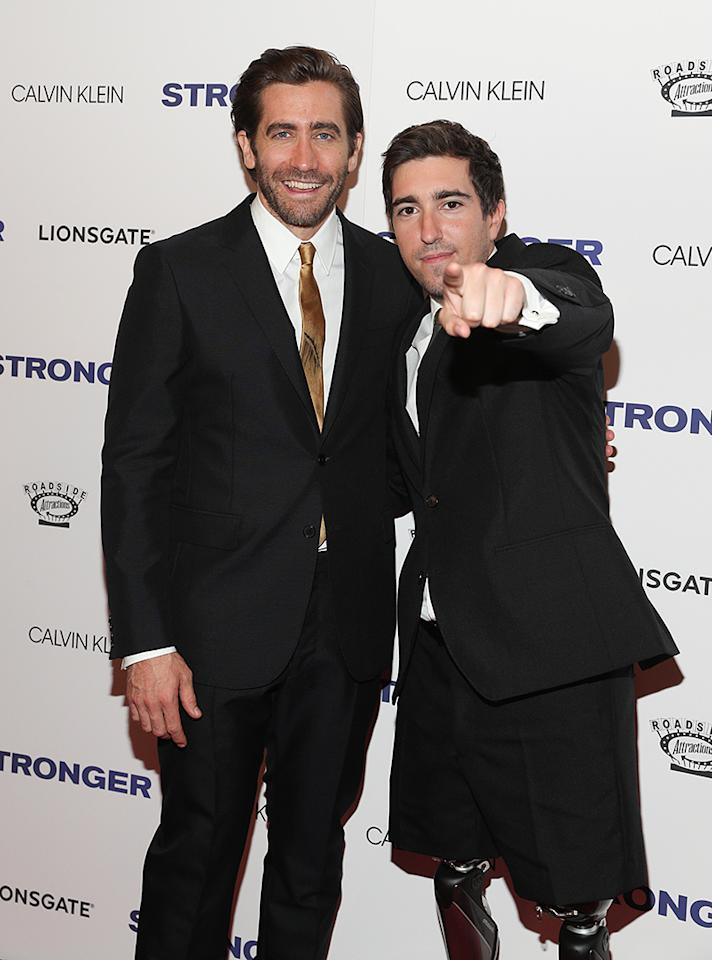 <p>Gyllenhaal shared the spotlight at the <i>Stronger</i> premiere with, appropriately enough, Jeff Bauman, the man he portrays in his new movie about the 2013 Boston Marathon bombing. (Photo: Rob Kim/Getty Images) </p>