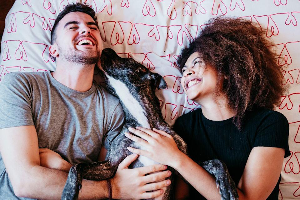 latinx couple holding dog and laughing