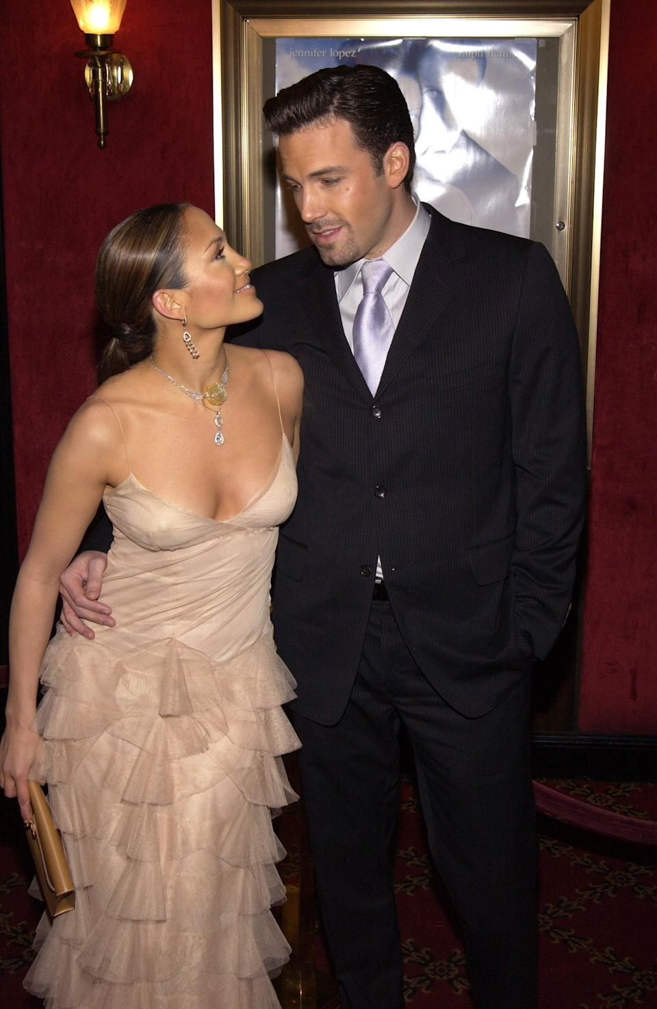 <p>Jen couldn't take her eyes off of Ben as they attended the NYC premiere of her movie <strong>Maid in Manhattan</strong> in December 2002. </p>