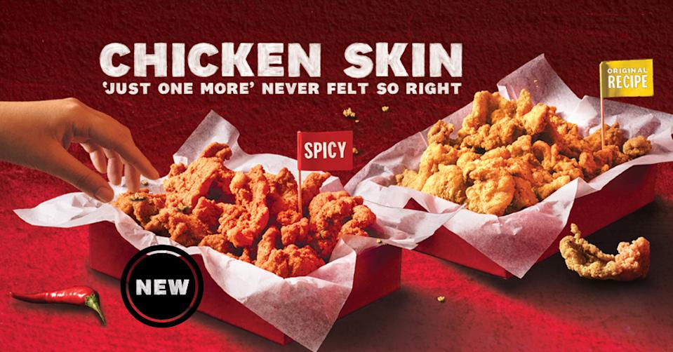 KFC Chicken Skin nowcomes in two flavours – Original Chicken Skin and the new Spicy Chicken Skin.
