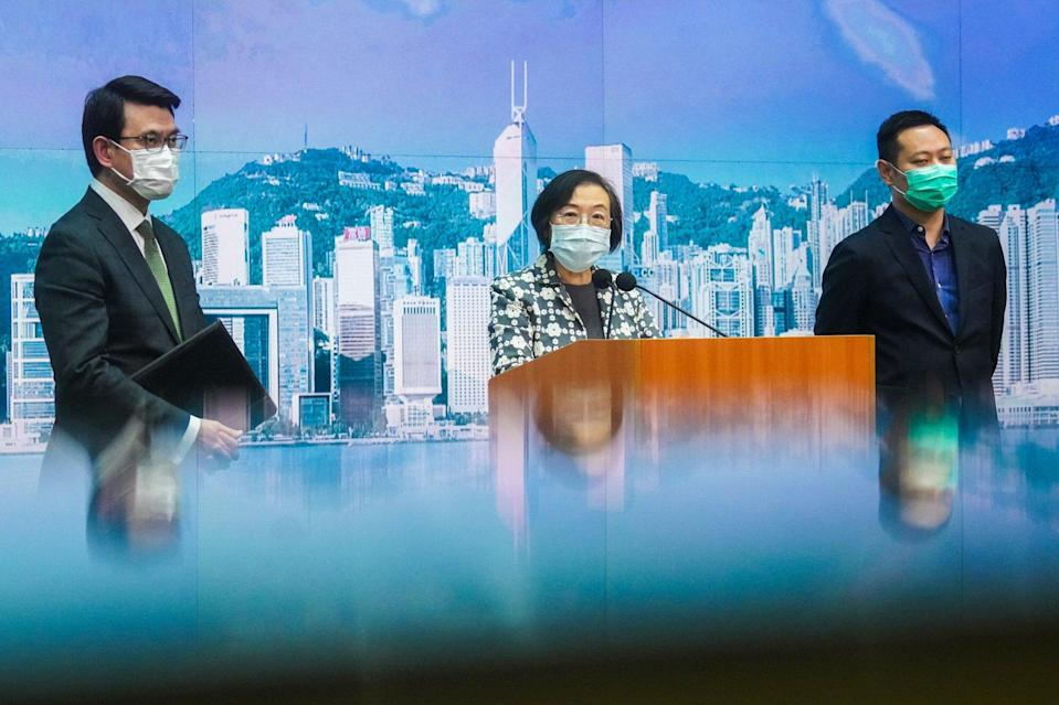 Health minister Sophia Chan announces the lifting of a travel ban for Hong Kong residents stuck in Britain on Monday. Photo: Winson Wong