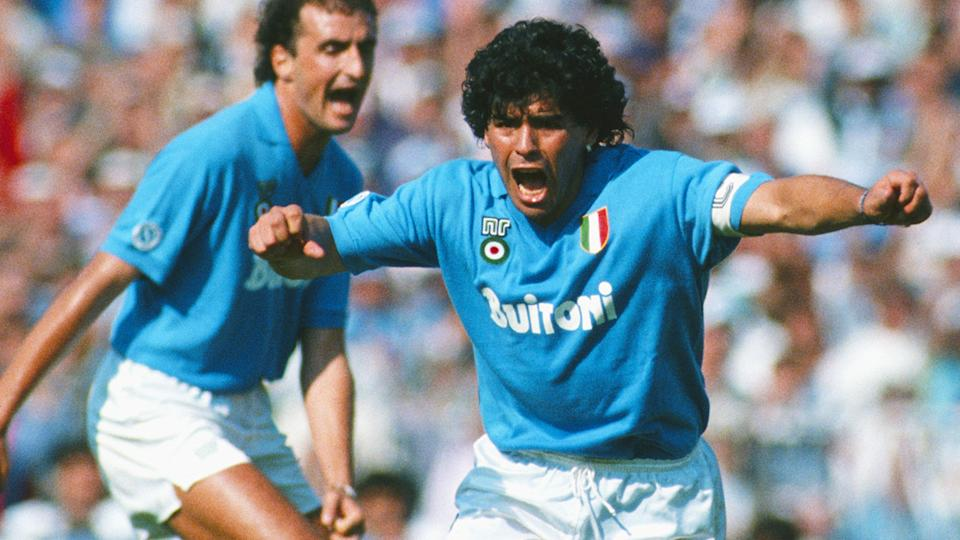 Diego Maradona, pictured here during an Italian League match between Napoli and AC Milan.