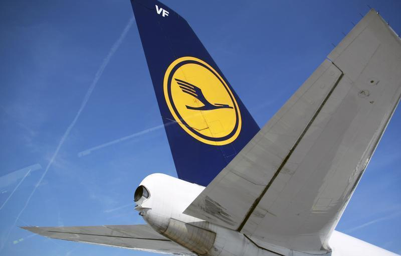 The tail of of Germany's Deutsche Lufthansa aircraft is pictured at Frankfurt Airport
