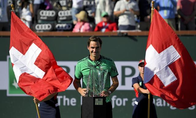 """<span class=""""element-image__caption"""">Roger Federer celebrates his win against Stan Wawrinka in the final of the BNP Paribas Open in Indian Wells, California.</span> <span class=""""element-image__credit"""">Photograph: Mark J Terrill/AP</span>"""