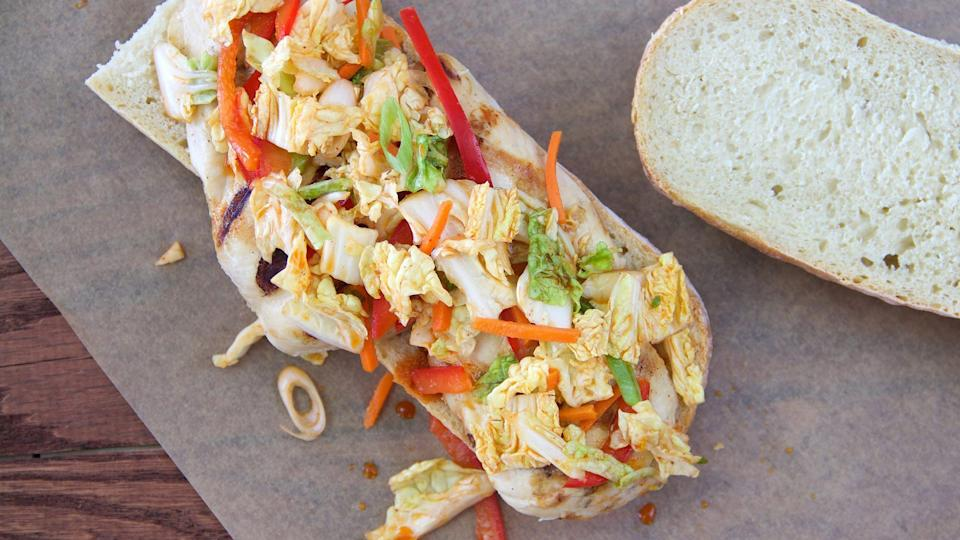 """<p>If you don't have weeks to make properly pickled <a href=""""https://www.thedailymeal.com/travel/what-kimchi?referrer=yahoo&category=beauty_food&include_utm=1&utm_medium=referral&utm_source=yahoo&utm_campaign=feed"""" rel=""""nofollow noopener"""" target=""""_blank"""" data-ylk=""""slk:kimchi"""" class=""""link rapid-noclick-resp"""">kimchi</a>, this quick kimchi slaw, coated in plenty of gochujang, will make a satisfying side for <a href=""""https://www.thedailymeal.com/our-50-best-burger-recipes-gallery?referrer=yahoo&category=beauty_food&include_utm=1&utm_medium=referral&utm_source=yahoo&utm_campaign=feed"""" rel=""""nofollow noopener"""" target=""""_blank"""" data-ylk=""""slk:your burgers"""" class=""""link rapid-noclick-resp"""">your burgers</a>. Heck, you may even find yourself topping your patties with it.</p> <p><a href=""""https://www.thedailymeal.com/recipes/easy-kimchi-slaw-recipe?referrer=yahoo&category=beauty_food&include_utm=1&utm_medium=referral&utm_source=yahoo&utm_campaign=feed"""" rel=""""nofollow noopener"""" target=""""_blank"""" data-ylk=""""slk:For the Easy Kimchi Slaw recipe, click here."""" class=""""link rapid-noclick-resp"""">For the Easy Kimchi Slaw recipe, click here.</a></p>"""
