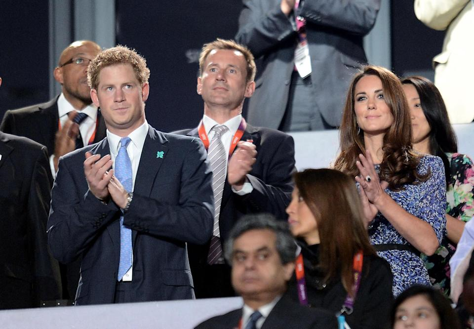 Prince Harry and the Duchess of Cambridge during the Olympic Games Closing Ceremony at the Olympic Stadium, London.   (Photo by Owen Humphreys/PA Images via Getty Images)