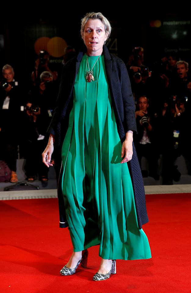 "FILE PHOTO: Actor Frances McDormand poses during red carpet event for the movie ""Three Billboards Outside Ebbing, Missouri"" at the 74th Venice Film Festival in Venice, Italy September 4, 2017.  REUTERS/Alessandro Bianchi/File Photo"