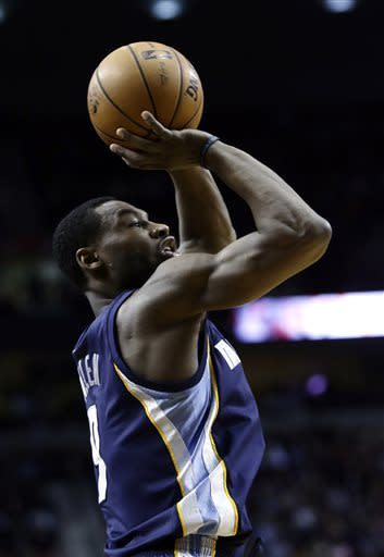 Memphis Grizzlies guard Tony Allen shoots during the first quarter of an NBA basketball game against the Portland Trail Blazers in Portland, Ore., Wednesday, April 3, 2013.(AP Photo/Don Ryan)