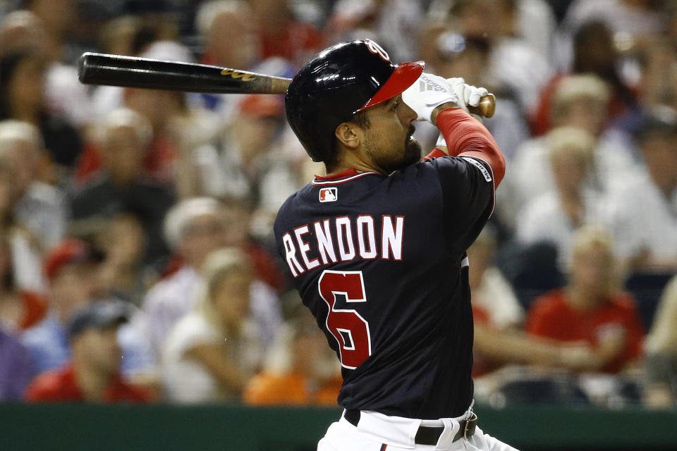 Washington Nationals' Anthony Rendon watches his three-run home run in the fifth inning of an interleague baseball game against the Chicago White Sox, Tuesday, June 4, 2019, in Washington. (AP Photo/Patrick Semansky)
