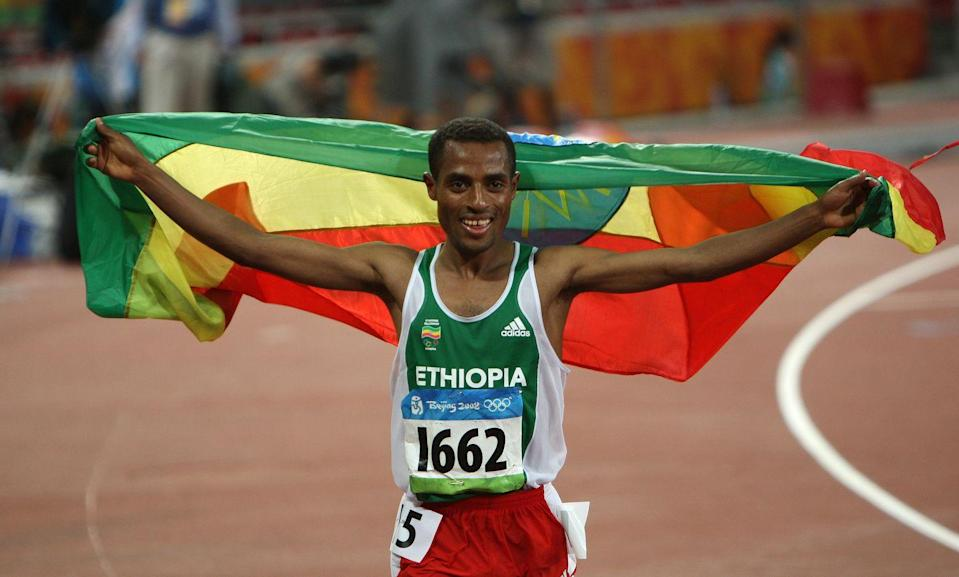 """<p>In 2008, Kenenisa Bekele won both the 5,000 and 10,000 meter races and even <a href=""""https://olympics.com/en/video/bekele-wins-second-gold-in-olympic-record-time"""" rel=""""nofollow noopener"""" target=""""_blank"""" data-ylk=""""slk:set an Olympic record"""" class=""""link rapid-noclick-resp"""">set an Olympic record</a> with his time in the 5,000 meter event.<br></p>"""