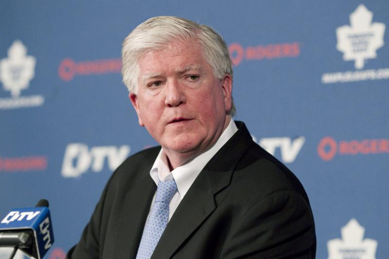 FILE - This April 10, 2011 file photo shows Toronto Maple Leafs general manager Brian Burke attending the year end press briefing in Toronto. The Maple Leafs have fired Burke, with the NHL season set to resume this month following a tentative settlement ending the lockout. ¶   The Maple Leafs have not made the playoffs since Burke took the job in 2008. (AP Photo/The Canadian Press, Chris Young, File)