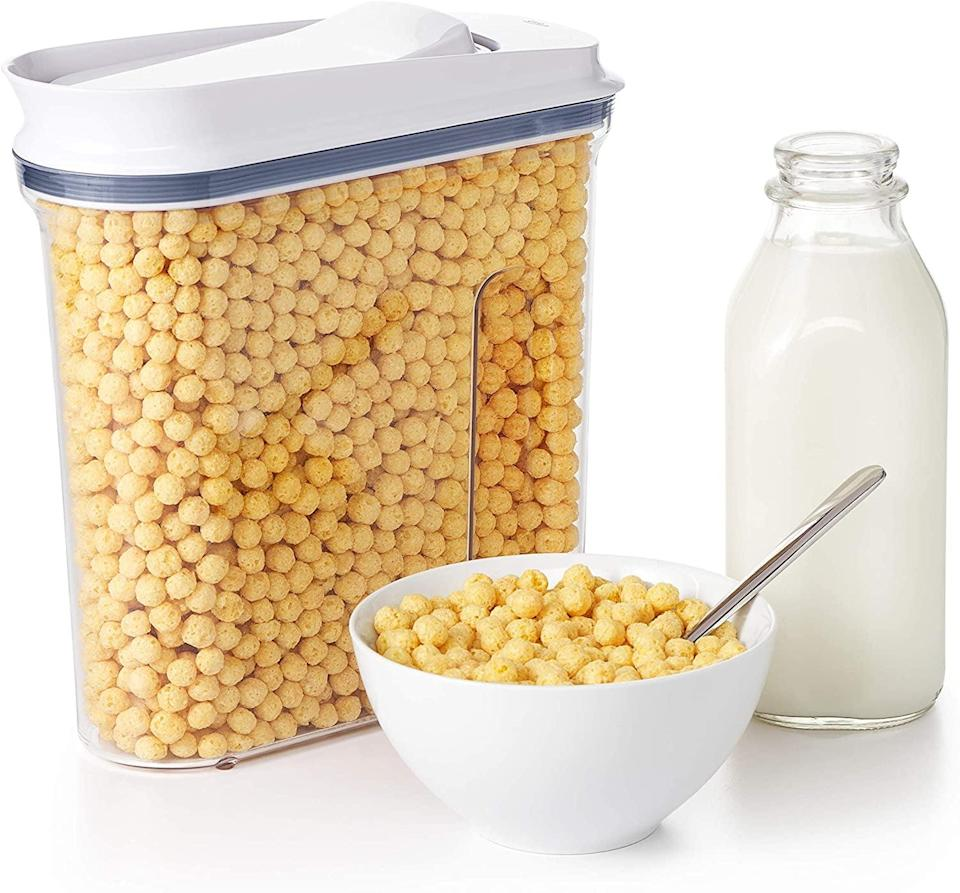 """<p>This <a href=""""https://www.popsugar.com/buy/OXO-Good-Grips-Airtight-POP-Medium-Cereal-Dispenser-569807?p_name=OXO%20Good%20Grips%20Airtight%20POP%20Medium%20Cereal%20Dispenser&retailer=amazon.com&pid=569807&price=20&evar1=casa%3Aus&evar9=47434945&evar98=https%3A%2F%2Fwww.popsugar.com%2Fhome%2Fphoto-gallery%2F47434945%2Fimage%2F47434996%2FOXO-Good-Grips-Airtight-POP-Medium-Cereal-Dispenser&list1=editors%20pick%2Corganization%2Ckitchens%2Cproduct%20reviews%2Chome%20organization%2Chome%20shopping&prop13=mobile&pdata=1"""" class=""""link rapid-noclick-resp"""" rel=""""nofollow noopener"""" target=""""_blank"""" data-ylk=""""slk:OXO Good Grips Airtight POP Medium Cereal Dispenser"""">OXO Good Grips Airtight POP Medium Cereal Dispenser</a> ($20) is also on my wish list, not only because it's great for ceral, but also pet food.</p>"""