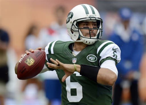 New York Jets quarterback Mark Sanchez (6) looks to pass during the first half of an NFL football game against the Miami Dolphins, Sunday, Sept. 23, 2012, in Miami. (AP Photo/Rhona Wise)