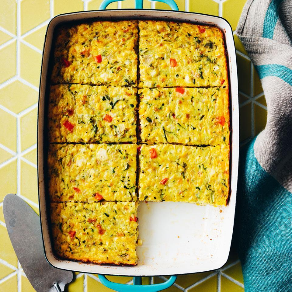 <p>This healthy casserole is essentially a crustless quiche, brimming with fresh summer vegetables. Bake it up for an elegant summer brunch or a casual backyard barbecue.</p>