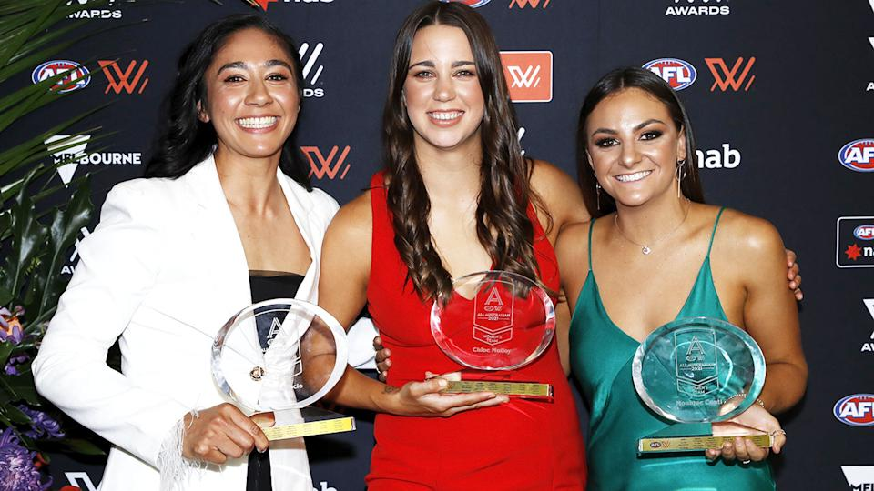 Darcy Vescio, Chloe Molloy and Monique Conti, pictured here with their AFLW All-Australian awards.