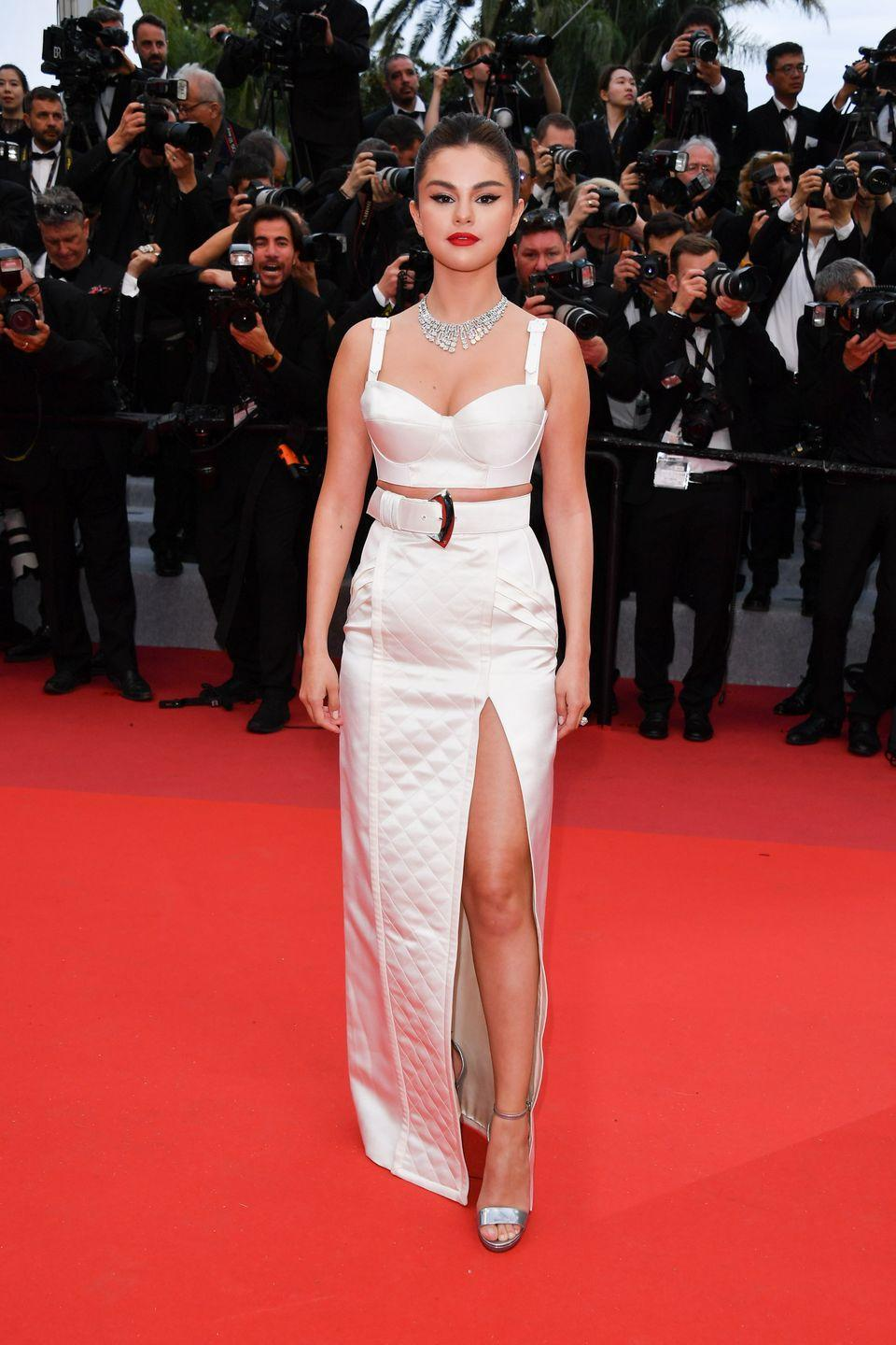 <p>Wearing a Louis Vuitton bustier and skirt combo with Bulgari jewels to the Cannes premiere of <em>The Dead Don't Die.</em></p>