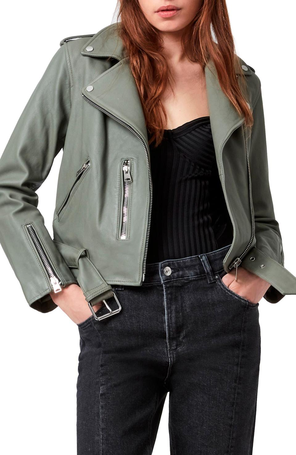 """<h2>AllSaints Balfern Leather Biker Jacket</h2><br><strong>SELLING FAST</strong><br>Another AllSaints fall favorite that's on its way to sellout town. While still a pricey sale score (it is $160 off, however!), the moto-style jacket is a premium investment buy: made from buttery soft leather and features silvertone hardware with an adjustable buckle belt.<br><br><em>Shop more <a href=""""https://go.skimresources.com/?id=30283X879131&xs=1&url=https%3A%2F%2Fwww.nordstrom.com%2Fbrowse%2Fanniversary-sale%2Fall%3FpostalCodeAvailability%3D10543%26filterByProductType%3Dclothing_jackets&sref=https%3A%2F%2Fwww.refinery29.com%2Fen-us%2Fnordstrom-anniversary-sale-best-sellers"""" rel=""""nofollow noopener"""" target=""""_blank"""" data-ylk=""""slk:Nordstrom Anniversary Sale jackets"""" class=""""link rapid-noclick-resp"""">Nordstrom Anniversary Sale jackets</a></em><br><br><strong>AllSaints</strong> Balfern Leather Biker Jacket, $, available at <a href=""""https://go.skimresources.com/?id=30283X879131&url=https%3A%2F%2Fwww.nordstrom.com%2Fs%2Fallsaints-balfern-leather-biker-jacket%2F4888436"""" rel=""""nofollow noopener"""" target=""""_blank"""" data-ylk=""""slk:Nordstrom"""" class=""""link rapid-noclick-resp"""">Nordstrom</a>"""