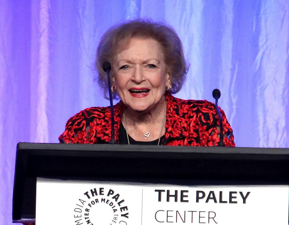 BEVERLY HILLS, CA - OCTOBER 12:  Actress Betty White speaks at Paley Honors in Hollywood: A Gala Celebrating Women in Television at the Beverly Wilshire Four Seasons Hotel on October 12, 2017 in Beverly Hills, California.  (Photo by David Livingston/Getty Images)