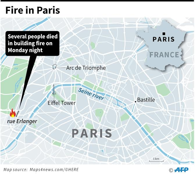 Map locating a building blaze in Paris where seven people have died overnight Monday (AFP Photo/AFP )