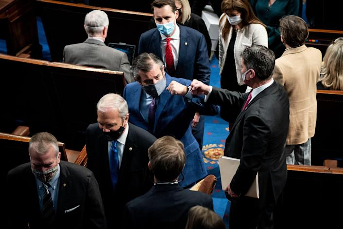Republican Sens. Ted Cruz (center) and Josh Hawley (top) led the GOP effort to challenge Electoral College votes on January 6, which was interrupted as Trump supporters attempted to violently overturn Biden's victory.