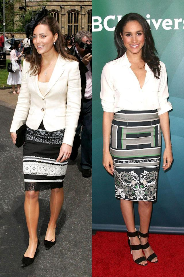 <p>There's a lot going on here between these two skirts - Meghan's even has words on it - but both royals paired them with white tops and black shoes. Kate wore hers to a wedding while Meghan wore hers on a press tour. </p>
