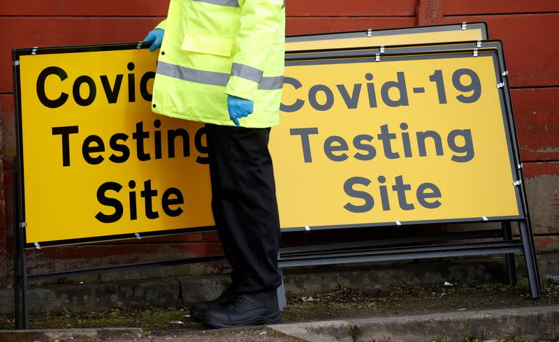 FILE PHOTO: Mobile testing centre amid the outbreak of the coronavirus disease (COVID-19) in the Moston area of Manchester