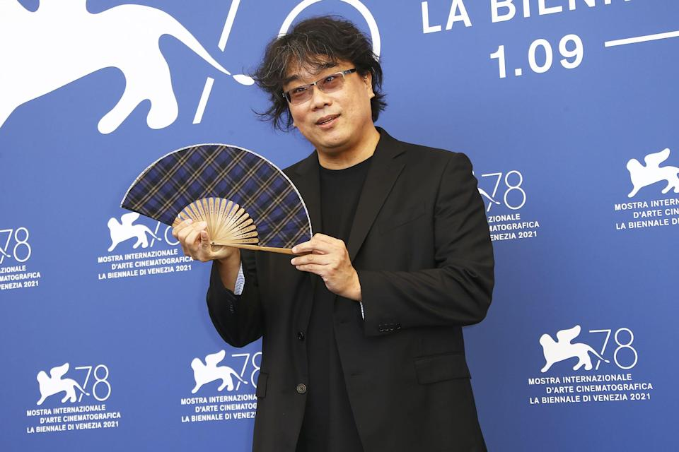 <p>Jury president Bong Joon Ho poses at the photo call for the jury at the 78th Venice International Film Festival on Sept. 1 in Venice. </p>