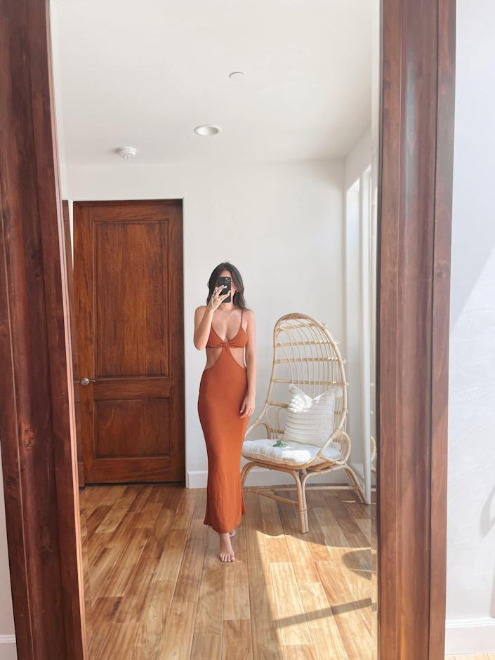 <p>The rust-brown color of this <span>Antopmen Knitted Maxi Dress</span> ($22) is just as beautiful in person (as seen on POPSUGAR's Renée Rodriguez) as it is in photographs. We're all about earth tones right now, and this tone is absolutely perfect and versatile.</p>