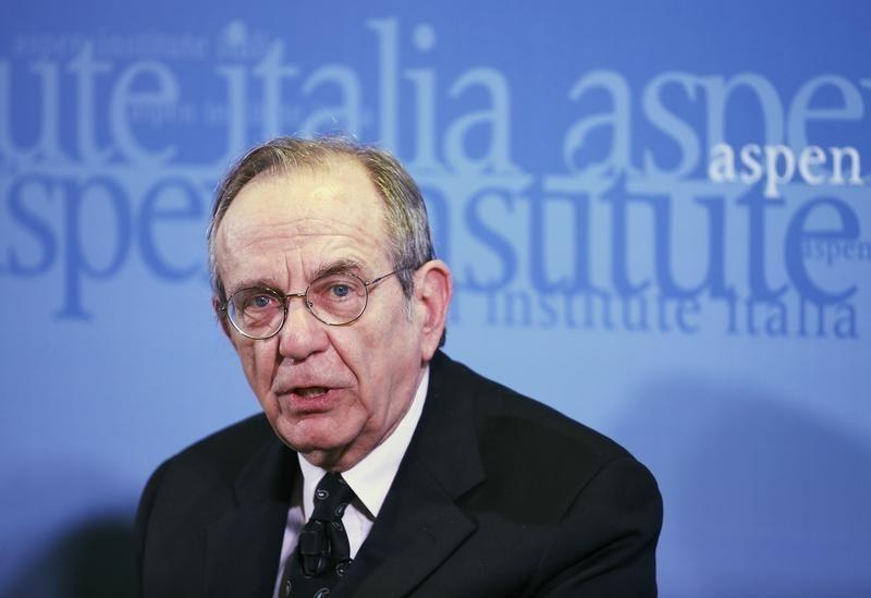 Italian Economy Minister Padoan speaks during a meeting with his British counterpart Osborne in Rome