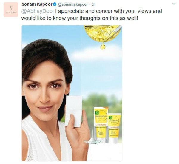 """The actress found herself unwittingly being dragged into controversy after Sonam Kapoor named her in her response to Abhay's tweet. Esha Deol was the face of Garnier Light, and was even quoted as saying, """"I am delighted and consider it my privilege to be associated with Garnier Skin Naturals and in particular Garnier Light Matte which will help me keep my skin fair and natural for long hours' during the press announcement by Garnier."""