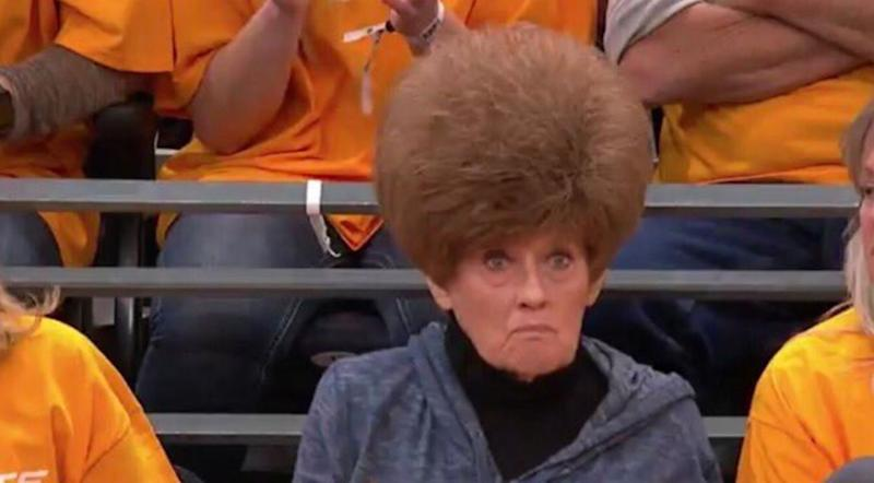A woman at the Utah Jazz and Houston Rockets playoffs game stole the show with her unique hairstyle. (Photo: Twitter)