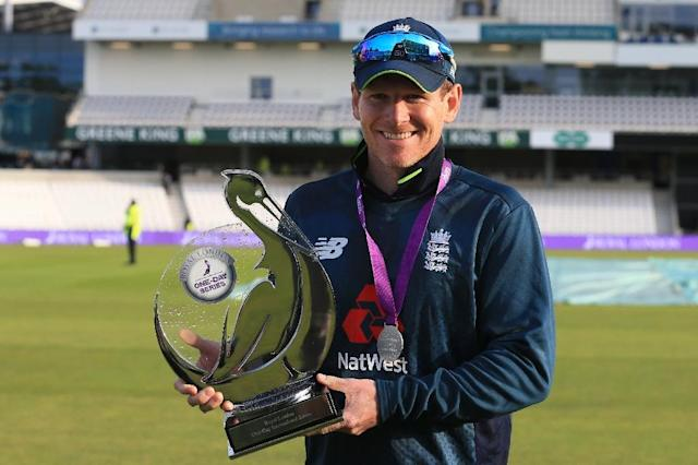 "England captain Eoin Morgan (pictured May 19, 2019) said his team is ""positioned in the best possible place at the moment"" (AFP Photo/Lindsey PARNABY)"