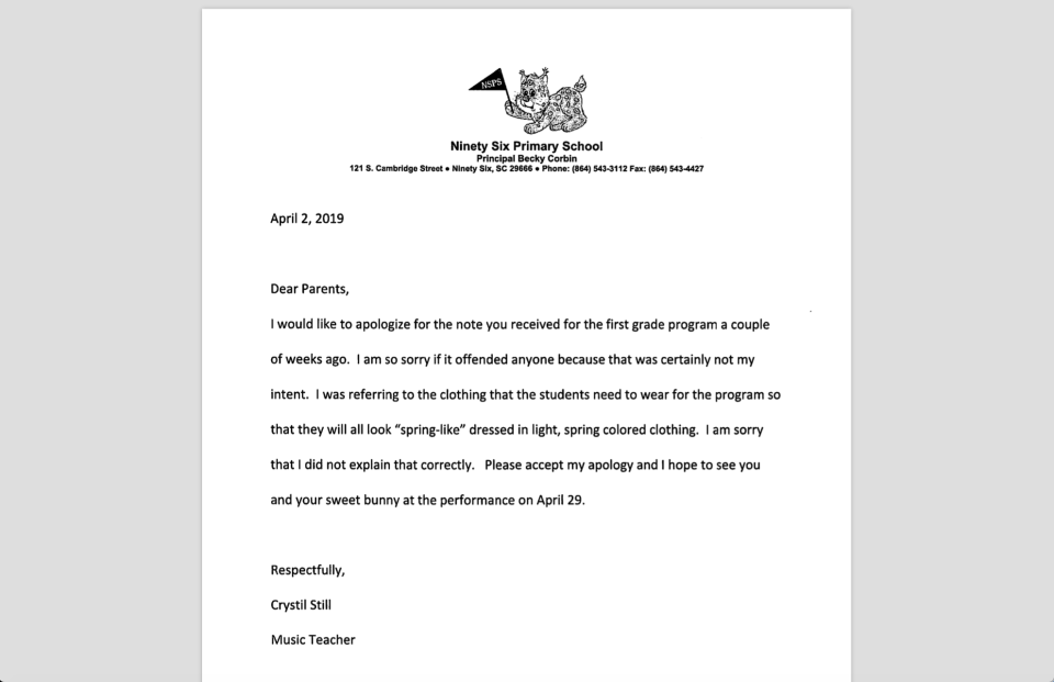 """A South Carolina music teacher offended some with an Easter invitation that underscored """"No dark bunnies"""" in relation to a Spring color scheme. (Photo: Courtesy of Greenwood School District 52)"""