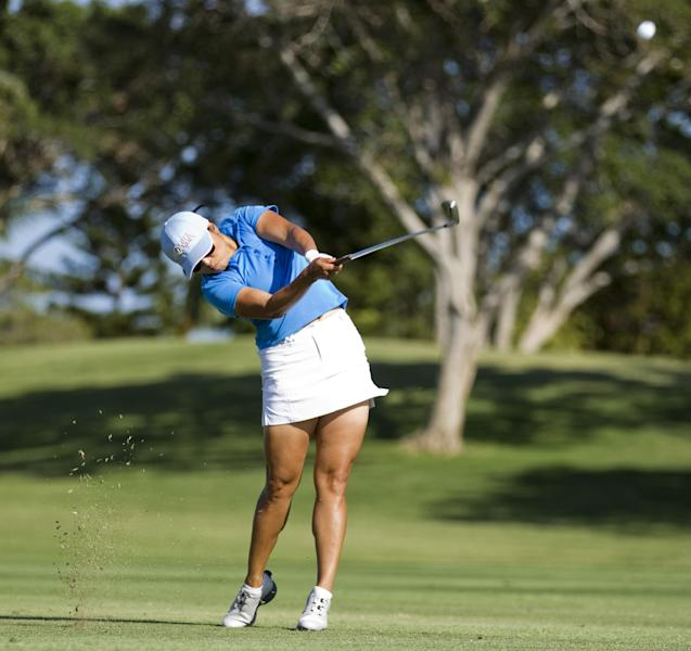 Jimin Kang hits off the 18th fairway in the second round of the LPGA LOTTE Championship golf tournament at Ko Olina Golf Club Thursday, April 19, 2012, in Kapolei, Hawaii. (AP Photo/Eugene Tanner)