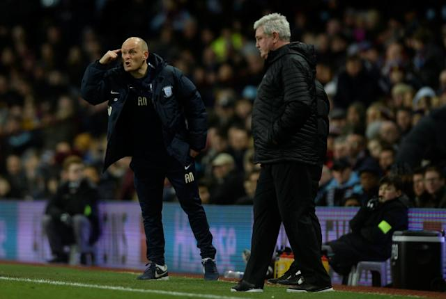 "Soccer Football - Championship - Aston Villa vs Preston North End - Villa Park, Birmingham, Britain - February 20, 2018 Preston North End manager Alex Neil reacts as Aston Villa manager Steve Bruce looks on Action Images/Adam Holt EDITORIAL USE ONLY. No use with unauthorized audio, video, data, fixture lists, club/league logos or ""live"" services. Online in-match use limited to 75 images, no video emulation. No use in betting, games or single club/league/player publications. Please contact your account representative for further details."