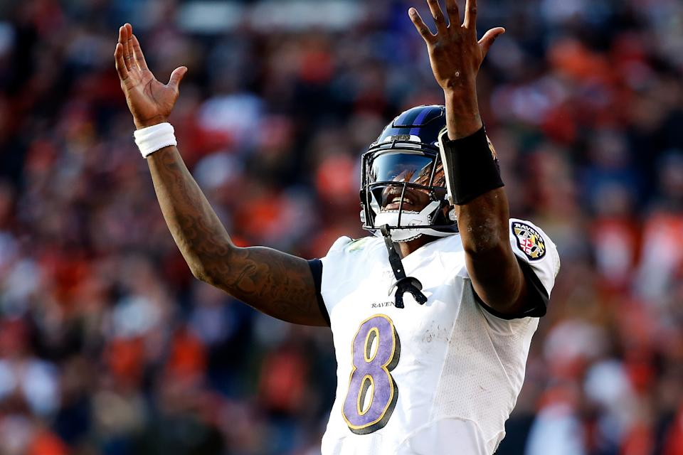 CLEVELAND, OH - DECEMBER 22:  Lamar Jackson #8 of the Baltimore Ravens reacts to a broken play during the game against the Cleveland Browns at FirstEnergy Stadium on December 22, 2019 in Cleveland, Ohio. Baltimore defeated Cleveland 31-15. (Photo by Kirk Irwin/Getty Images)