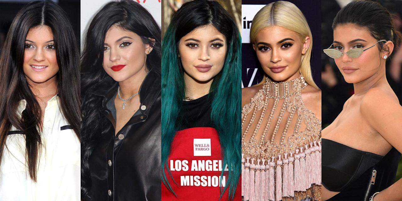 <p>Although she may be the youngest of the Kardashian/Jenner clan, the 21-year-old mother to Stormi is definitely not afraid to make a bold statement with her ever-changing beauty look. From blunt bangs to blue extensions accompanied with plump lips, a look back at Jenner's hair and beauty transformation over the years.</p>