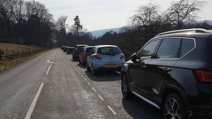 Derbyshire Police shared a picture on Twitter of drivers heading to the Peak District despite being told to stay at home by the government: Derbyshire Police