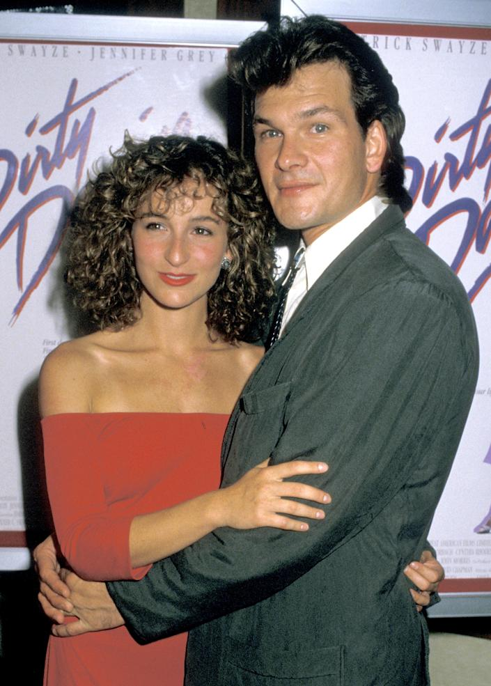 Jennifer Grey and Patrick Swayze attend the premiere of Dirty Dancing at the Gemini Theater in 1987 in New York City (Credit: Jim Smeal/WireImage)